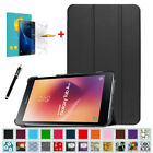 For Samsung Galaxy Tab A 8.0'' 2017 2018 Slim Case Stand Cover +Tempered Glass