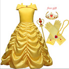 Kinder Kostüm Prinzessin Belle Cosplay Beauty-and the Beast Mädchen  Gr.110-150