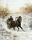 The Courier by Adolph Schreyer. Giclee Wall Art Reproduction Prints on Canvas