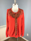 BODEN Red 14 16 Cashmere Cotton Cardigan sweater Embellished Studded