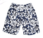 New Merona Men's Floral Trunks Swim Shorts Drawstring Hawaiian Navy Blue White