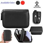 Women's Genuine Leather RFID Blocking Mini Zipper Card Wallet Holder Small Purs
