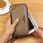 Men Leisure Business Retro Leather Wallet Compact Zipper HandbagS Card Holder