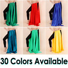 Satin 2 Slit Skirt Panel Women Lady Belly Dance Jupe Tribal Oriental 12 Yd Gypsy