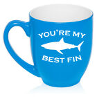 16oz Bistro Mug Ceramic Coffee Tea Glass Cup You're My Best Fin Friend Shark
