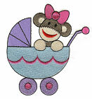 Baby Sock Monkey Filled by JUJU  Machine Embroidery Quilt Block Your Choice 4x4