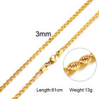 Man Necklace Chain Twist Rope Curb Link Stainless Steel 20/22/24inch Gold Silver <br/> Buy 2 Get 1 free Never Fade Tarnish Free Shipping Gift