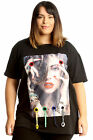 New Womens Plus Size T-Shirt Ladies Top Applique Girl Loops Print Soft Cotton