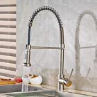 Brushed Nickel Kitchen Faucet Swivel Spout Pull Down Sink Single Hole Mixer Tap