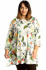 New Womens Plus Size Top Ladies Jungle Leaf Print Skater Swing Tunic Crew Neck