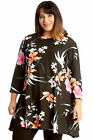 New Womens Plus Size Swing Top Ladies Floral Print Skater Style Tunic A-Line