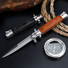 """9"""" Stiletto Milano Tactical Wood Spring Assisted Folding Knife Pocket Blade Open"""
