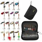 Fishing Lures for Bass 16pc Spinner Lures with Portable Carry Bag Bass Baits Kit