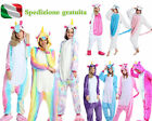 Pigiama kigurumi costume unicorn-carnevale adulti-cosplay animali tuta-party-New