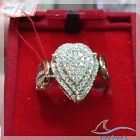 Yellow Gold Over Ladies Womens Round D/VVS1 Diamond Engagement Ring Wedding Band