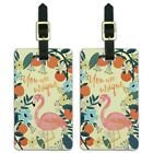 You are Unique Flowers Flamingo Luggage ID Tags Carry-On Cards - Set of 2
