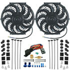 DUAL 12V UNIVERSAL ELECTRIC RADIATOR COOLING FANS & THERMOSTAT RELAY SWITCH KIT