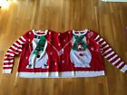 UGLY 2-person FUN Party Christmas sweater Double Elf or Snowman Tacky Funny