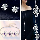 Four Clover Pendant 925 Sterling Sliver Long Necklace Studs Set Womens Jewellery