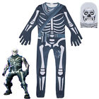 Fortnite Skull Trooper Cosplay Costume Fancy Party Halloween Boys Girls Jumpsuit