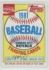 1981 Topps Coca-Cola Sets #HEAD Kansas City Royals Team Baseball Card $1.35  on eBay