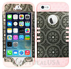 For Apple iPhone 5/5s/SE KoolKase Hybrid Silicone Cover Case - Circular Gray