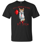 Cat Meow Men's T Shirts Tees We All MEOW Down Here Clown Cat Kitten IT SML - 6XL