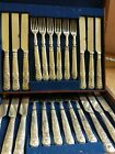VICTORIAN FITTED OAK BOXED SET KING PARTTEN KNIVE FORKS  MATIN HALL SILVER Plate