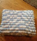 Blue and white Hand knitted Rico pom pom blanket approx size 22 inch x 34 inch