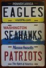 "NFL Football Team State Background Metal License Plate  ""Made In The USA"" $9.50 USD on eBay"