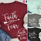 Faith Over Fear Christian T-shirt Womens Mens Jesus Belief Power Tees Top Blouse