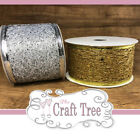 Gold / Silver Glitter Wire Edged Web Mesh Ribbon 50mm