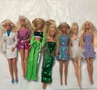 Vintage Lot Of 7 Barbies.  90's Mattel Wearing Clothes