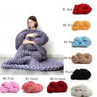 Hand Chunky Knitted Blanket Thick Yarn Merino Wool Bulky Knitting Throw 80x100cm image
