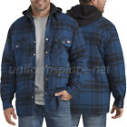 Dickies Flannel Jacket Mens Relaxed Fit Icon Hooded Quilted Shirt PLaid Jacket