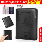 Leather Passport Cover RFID Blocking Travel Wallet ID Cards Holder Case