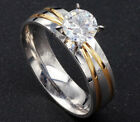Women's Simulated Diamond Engagement Ring Band Stainless Steel Gold Infinity