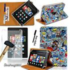 For Amazon Fire 7 8 10 Leather Stand Cover Case +Tempered Glass Screen Protector