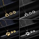 Lovely Hollow Paw Stainless Steel Stud Earrings Necklace Set Charm Jewelry Gift