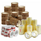 STRONG PACKING TAPE - BROWN / CLEAR / FRAGILE 48mm x 90M Rolls PARCEL SEALING