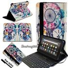 "Leather Stand Cover Case With Keyboard For 7"" 8"" 10"" Amazon Kindle Fire Tablet"