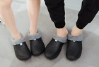 Women Mens Winter Loafers Slippers Casual Home Shoes Hollow Fur Lined Slide HOT