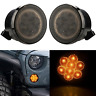 Amber Front LED Turn Signal Lights for 2007-2017 Jeep Wrangle JK Smoked Lens