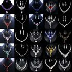 Fashion Crystal Pendant Bib Choker Chain Statement Necklace Earrings Jewelry Set