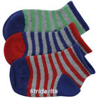 Stride Rite Infant/Toddler Boy's 3-Pack Striped Skid-Proof Quarter Crew Socks