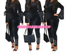 Women Velvet Two Piece Tracksuit Beaded Embellished Flare Sleeve Top Pencil