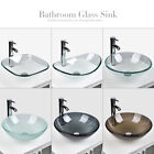 Bathroom Clear Glass Vessel Sink Faucet Single Bowl Counter Top Basin Drain Set