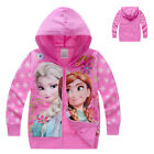 Frozen Elsa Anna Zipped Hoodie Jacket Coat UK STOCK Girls Infants  pink 12-18 m