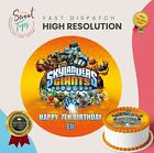 SKYLANDER GIANTS EDIBLE ROUND BIRTHDAY CAKE TOPPER DECORATION PERSONALISED