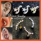 Opal Mini Diamonds Stud Ring Bar Ear Climber Tragus Helix Piercing Post Earring